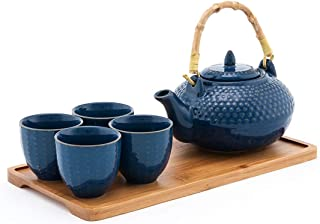Happy Sales HSTS-CARBLU4, Tea Set with 26 oz Teapot, Four Cups and Bamboo Tray, Blue
