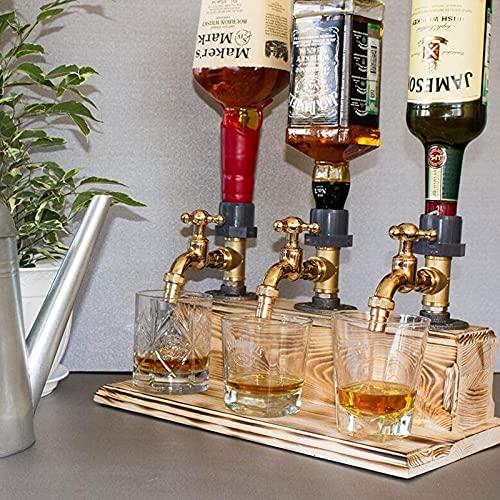 GHMPNLG Dispensador de Licor, dispensador de licores de Whisky de Madera, Forma del Grifo de Licor, Todo el Producto está Hecho a Mano, para Las Barras de cenas de Fiesta y Estaciones de Bebidas