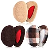 Whaline 3 Pairs Ear Warmers Bandless Ear Muffs Unisex for Winter Outdoors (Khaki, M)