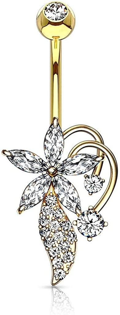 Forbidden Body Jewelry Surgical Steel Ultra Glam 5-CZ Marquise Flower Pave Vine Belly Button Ring