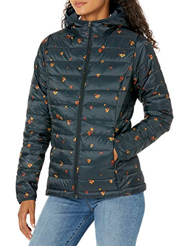 Amazon Essentials Women's Lightweight Long-Sleeve Full-Zip Water-Resistant Packable Hooded Puffer Jacket, Navy Floral, X-Small