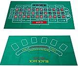 GeekDwarf カジノ トランプ ゲーム マット 120cm×60cm ルーレット ブラックジャック レイアウト フェルト ポーカー バカラ テキサスホールデム (リバーシブル 120 60)