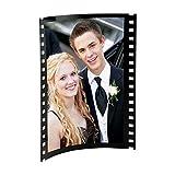Black Acrylic Photo Frame with Film Strip Design on Sides, Holds 5' x 7' Photos