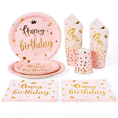 Rorchio Vajilla rosa y dorada para fiesta de cumpleaños, platos y tazas de cumpleaños rosas para mujeres y niñas, suministros para fiesta de cumpleaños, sirve 24