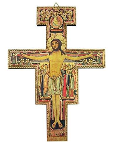 San Damiano Holzkreuz, religiös, zum Aufhängen, Chrisitanisches Holz, Wandkruzifix, 25,4 cm, WOW