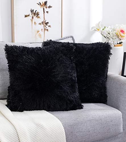 Nanhiking Funda de cojín decorativa de pelo sintético, 50 x 50 cm, color negro, suave, para sofá, dormitorio, coche, salón al aire libre, juego de 2