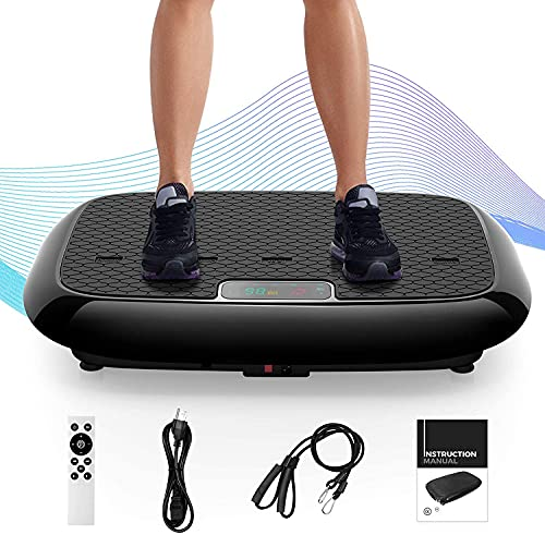 Natini Vibration Plate Exercise Machine, Whole Body Workout Vibrating Platform with Bluetooth Speaker for Home Fitness Training Equipment with Loop Bands Black