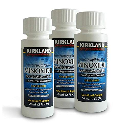 Kirkland Signature Minoxidil 5% Extra Strength Hair Regrowth Topical Soluion - 3 Month Supply (3 x 2 oz Bottle)