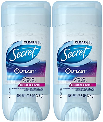 """Klares Gel """":Outlast"""" von Secret Deodorant, schützendes Pulver, 70 ml, 2er Packung"""