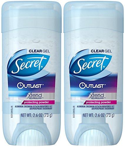Antitranspirante y desodorante Secret para mujer, gel transparente Outlast Xtend, polvo protector, paquete de 2 unidades de 2.6 onzas