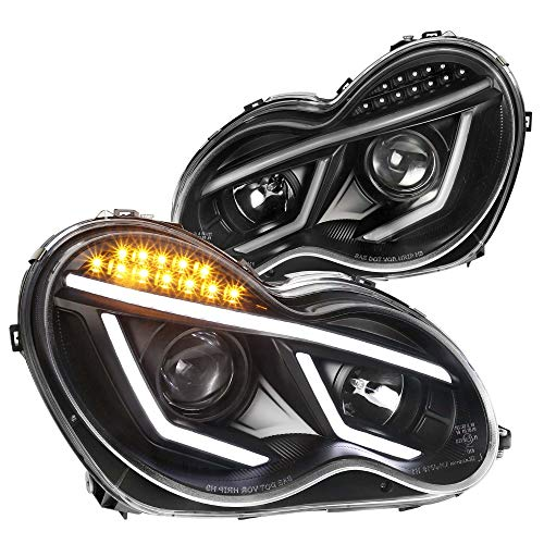 Spec-D Tuning Led Projector Headlights Black for 2001-2007 Mercedes Benz W203 C-Class C230 C240 C320 Head Light Assembly Left + Right Pair