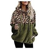 Sudadera Army Green Sudadera de Fleece Esponjoso Abrigo Mujer Invierno Sudadera con Estampado de Leopardo Costuras Ropa Navideña Mujer Cremallera de 1/4 Ejército Verde S-5xl Talla Grande Suelta