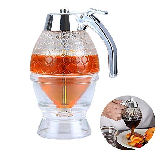Probeallyu - Dispensador de miel, jarabe de jugo y miel, botella de exprimir, tarro de miel, contenedor de almacenamiento con soporte para gatillo, herramienta para hornear sin goteo, 200 ml