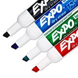 EXPO 80074 Low-Odor Dry Erase Markers, Chisel Tip, Assorted Colors, 4-Count