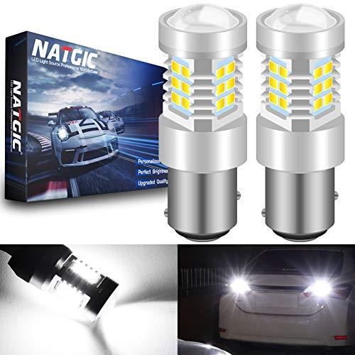 NATGIC 1157 BAY15D 2057 2357 7528 LED Ampoules Blanc-xénon 21- EX 2835 SMD avec projecteur pour Objectif pour Feux de recul de Queue de Frein, 10-16V 10,5W (Paquet de 2)
