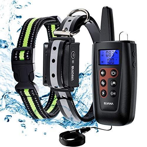 Elvana Shock Collar for Dogs (5-140lbs) Rechargeable Electric Dog Training Collar with Beep, Vibration, Shock Modes, Full Accessories, IP68 Waterproof, 3200Ft Remote Range, 100 Levels Adjustable