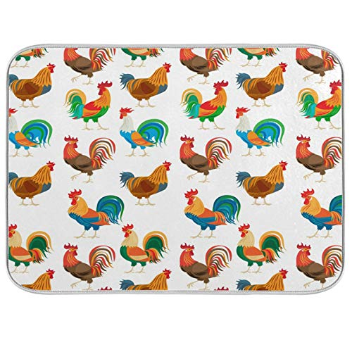 Oarencol Funny Roosters Dish Drying Mat Chickens Farm Cock Animal Large Kitchen Counter Reversible Microfiber Dishes Drainer Mat 18 x 24 Inch