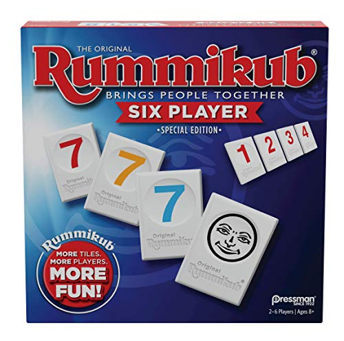 Rummikub 6 Player Edition by Pressman - The Original Rummy Tile Game, Blue (108648)