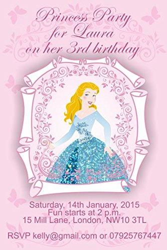 10 x Cendrillon personnalisé enfants Fête d'anniversaire Invitations ou cartes de remerciement