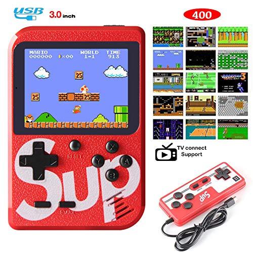 Hong Ren Consoles De Jeux Portable,Console de Jeu Retro,avec 400 jeux FC classiques Écran couleur de 3.0 pouces Prise en charge Deux joueurs Chargement USB, Grand Cadeau pour Les Enfants (Rouge)