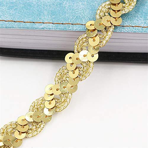 Deike Mild Paillettenband 20m 1.5cm Farbiges Glitzer DIY Glänzendes Borten Rolle Handwerk Hochzeit Kostüm Brautschmuck (Gold C)