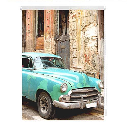Lichtblick KRT.080.150.316 Rollo Klemmfix, ohne Bohren, Blickdicht, Kuba - Türkis Braun 80 x 150 cm (B x L)