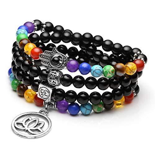 JSDDE 108 Perlen Edelstein Yoga Armband Wickelarmabnd 7 Chakra Lotus Anhänger Perlenarmband Healing Reiki Mala Kette Tibetische Halskette Gebetskette (Obsidian)