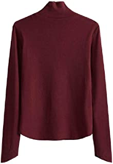 Zimaes Women Long Sleeve Hoodies High Neck Stretchy Fall Solid Tops