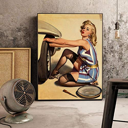 IGNIUBI Girl Repairs Wheel Poster Garage Wall Art Canvas Painting Vintage Picture Pin-up Girl Cool Art Print Man Cave Decoration 50x70cm sin Marco