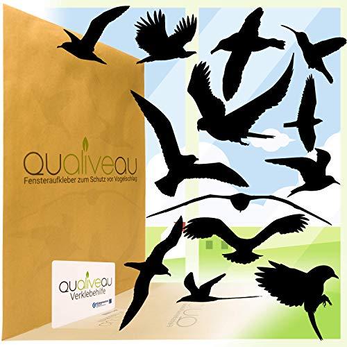 QUALIVEAU® 12-30cm Große Fensterbilder Aufkleber zum Schutz vor Vogelschlag, Komplettset mit Verklebehilfe, Schwarz