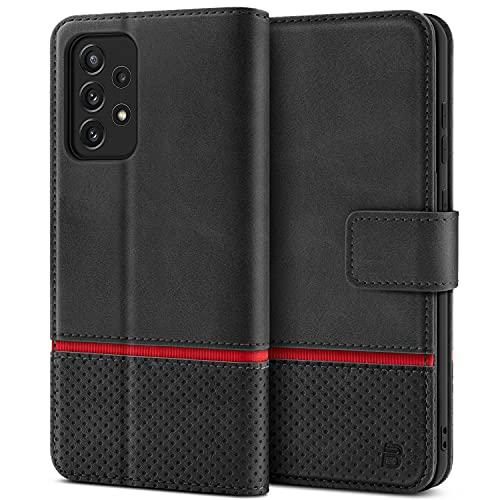 BEZ Handyhülle für Samsung A72 Hülle, Tasche Schutzhüllen Kompatibel mit Samsung Galaxy A72, Schützende Brieftasche aus PU Leder mit Kartenfächern, Kick-Ständer, Magnetverschluss, Schwarz