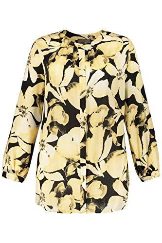 Ulla Popken Damen große Größen Bluse, XL-Blüten, Ausschnitt mit Blende, Langarm,...