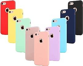 """Leathlux 9 × Custodia iPhone 8 Cover Silicone Ultra Sottile Morbido TPU Custodie Protettivo Gel Cover per Apple iPhone 8 4.7"""" Rosa,Verde,Porpora, Azzurro,Giallo,Rosso,Blu Scuro,Traslucido,Nero"""