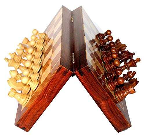 """Best Chess Set Sale - BKRAFT4U 10 x 10"""" Rosewood Travel Chess Game Board - Premium Handmade Wooden Foldable Magnetic Chess Game Board with Storage Slots, 10 inch. Gifts from India."""