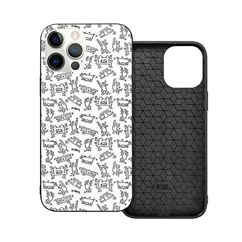 XXUREJK Compatibile con iPhone 7 Plus/8 Plus Custodie Keith Haring Pattern Vetro temperato Custodie per Telefoni TPU Protezione Antiurto Cover