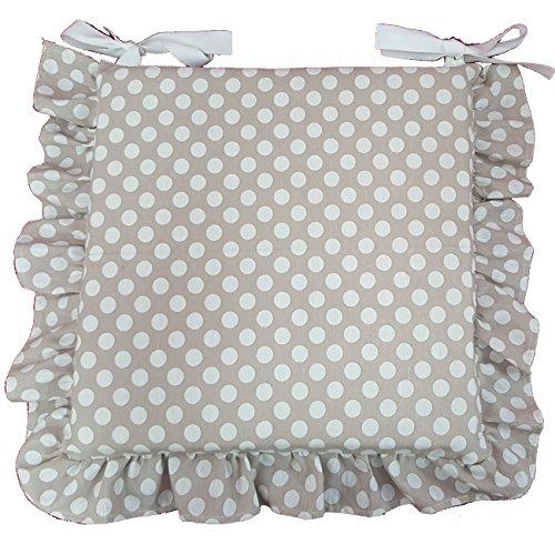 Cuscino Beige pois bianco, con volant 40x40 spessore 5 cm, copri sedia cucina, Euronovità