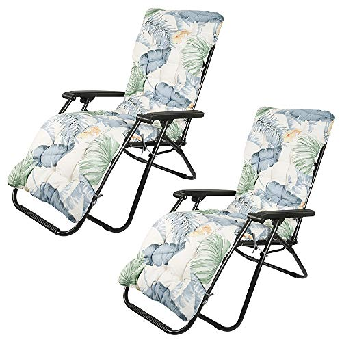 Sun Lounger Cushion Pads, Garden Furniture Cushions, Portable Garden Patio Thick Padded Bed, Classic Garden Patio Thick Chair Pad for Travel Holiday Garden Outdoor,no chairs (Hawaiian style, 2PCS)