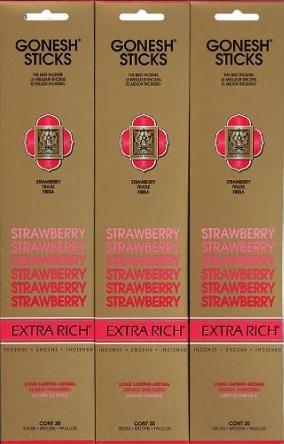 懸念ブースブースGONESH STRAWBERRY ストロベリー スティック 20本入り X 3パック (60本)