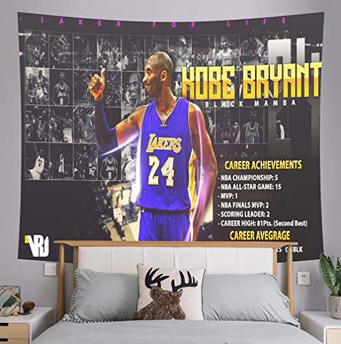 Xuejia Kobe Conmemorativa Junto a la Cama Tela de Fondo NBA Lakers Dormitorio decoración de la cabecera Tela para cancha de Baloncesto Tapiz Kit -Veintitres_150x130 (paño Cepillado