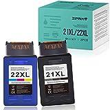ZIPRINT 2 cartuchos de tinta compatibles HP 21 22XL para HP Deskjet D1530 D1560 D1530 D2460 D2360 F2430 F2440 F2290 F335 F380 F390 F4180 3940 HP Officejet 315 (negro/color).