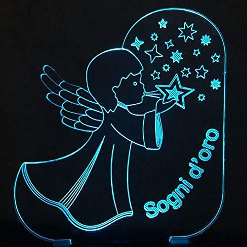 Lámpara de mesa 3D multicolor ángel visual forma de estrella que sopla LED botón de luz nocturna romántica decoración Usb regalo
