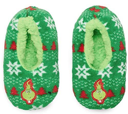 Kids Slippers House Anti Slip Grinch Holiday Fuzzy Warm Cozy (M/L) Green