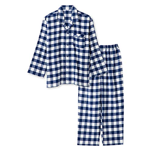 綿100% 長袖 メンズ パジャマ 冬 ふんわり柔らかい2枚仕立ての厚手生地で暖かい ダブルガーゼ起毛 前開き シャツ ブロックチェック柄 おそろい ネイビー 3L