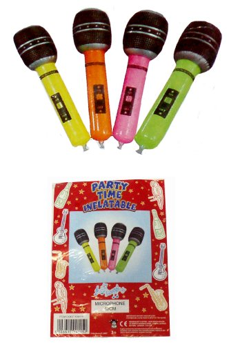 Toyland 4 opblaasbare microfoon party accessoires