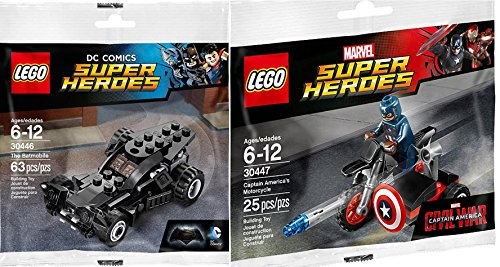 Lego Super Heroes Batman Batmobile (30446) + Captain America Motorcycle & Mini Figure (30447) DC Comics & Marvel by Marvel Lego