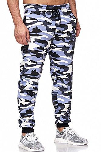 Tazzio Jogginghose Slim Fit Herren Sporthose Fitness Freizeit Hose Trainingshose Sweat Sweatpants Jogger | 16600 (Camouflage-Brau, XL)