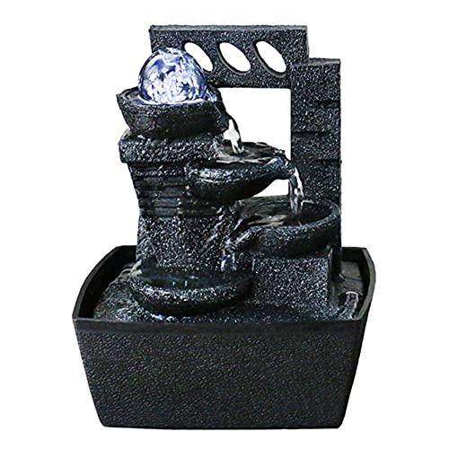 LXHJZ Cascada Fuente Interior con Bola Cristal - Fuente Agua eléctrica Escritorio Resina - Adornos Feng Shui - Cumpleaños Ideal, Aniversario o Regalo Boda
