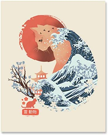 Japanese Cat Art Print Traditional Ukiyo e Wall Art 8 x 10 Unframed Cherry Blossom Ocean Waves product image