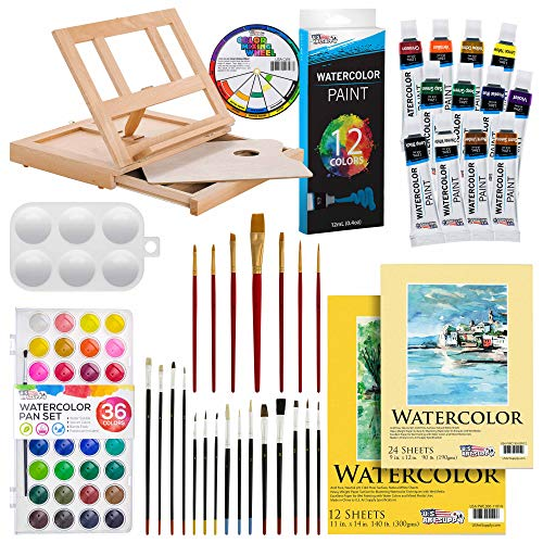 U.S. Art Supply 42-Piece Watercolor Painting Set Wood Easel, 12 Watercolor Tube Colors, Brushes, Watercolor Pan, Paper Pads, Plastic Palette & Color Mixing Wheel