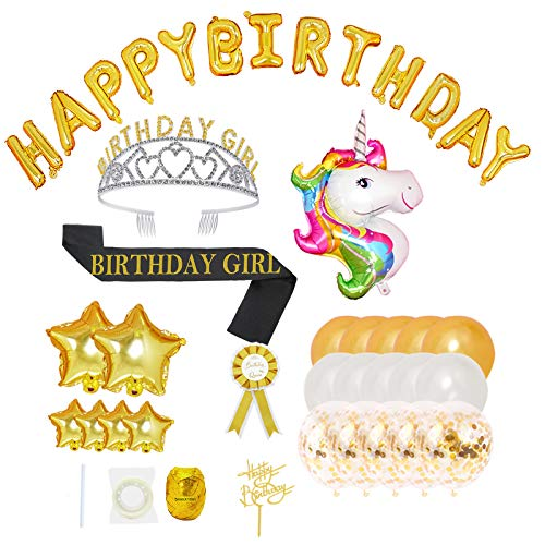 NUZYZ 43pcs Birthday Decoration Kits Queen Birthday Sash And Crown Tiara For Women Party Supplies With Happy Birthday Balloons,Cake Topper for Birthday Celebration Gifts (G-Gold)